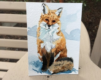 ACEO Limited Edition 3/25 -Fox sitting on snow, Red fox art, Art card of an original ACEO watercolor, Gift for animal lovers