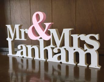 Wedding Sign, Mr & Mrs Sign, Mrs and Mrs, Mr and Mr Sign, top table sign, wedding centrepiece, wedding gift, wedding decor, engagement gift