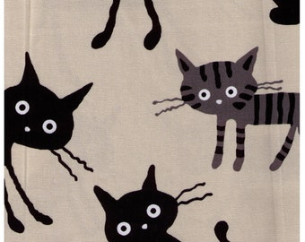 HALF YARD - Coco Land Jumbo Cats on STONE 12A- Cocoland Kitties - Cotton Oxford - Japanese Import Fabric