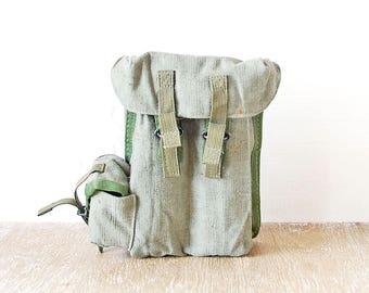 Military Belt Pouch, Vintage Canvas Belt Bag, Belt Grey Green Canvas Case, Waist Bag, Hip Pouch