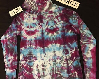 Adult XL Long Sleeve Hooded Tie Dye Shirt