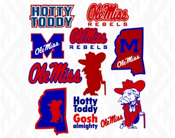 Ole Miss Designs; Hotty Toddy; SVG, DXF, Ai, Eps, Pdf, Jpeg, Png