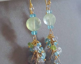 Prehnite Labradorite Disc with Peridot and Apatite Wire Wrapped Cascade Earrings on Gold Vermeil Gift for Her