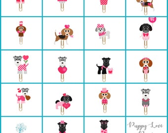 Puppy Planner Paper Clips. Valentine puppies. 18 Designs - Dog Novelty Magnets & Planner Accessories. Beagle, Shih Tzu, Schnauzer Puppies