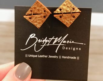 Stud Dangle Earrings/Leather/Copper/Jewelry/Geometric/Metallic Finish/Boho/Handmade/Style/Fashion/Unique/Women/Gifts for Her/ValentinesGifts