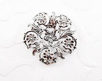 1Pc Antique silver plated Filigree Flower setting, Filigree Setting #A10
