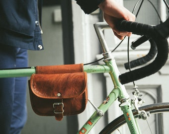 Gusti Leather ' Sabine S. ' Leather bicycle Handlebars pouches