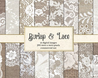 Burlap and Lace Digital Paper, burlap digital paper, white lace digital paper, scrapbook paper, rustic wedding backgrounds textures