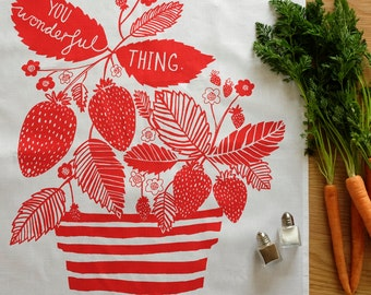 Stripes & Strawberries Tea Towel: Hand screen printed in the UK