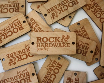 25 - Engraved Cherry Packaging Tags // Wooden Packaging Tags // Product Tags // Logo Tags // Personalized Wood Tags // Engraved Hang Tags