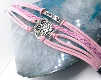 Pink Rope and owl Bracelet