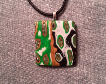 Unique necklace from polymer clay, Unique necklace, Green necklace, Minimalist necklace