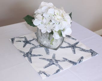 "Navy starfish placemat, 12x12"", Nautical wedding decor, Nautical placemat, Wedding centerpiece, Baby shower - Birthday party - Table square"