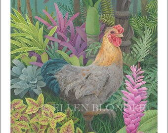 Plumper Rooster, Large Giclée Print