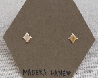 Tiny Diamond Stud Earrings in Gold. Sterling Silver Posts. Geometric Studs. Basic Shape Earrings. Minimalist Everyday Jewelry.