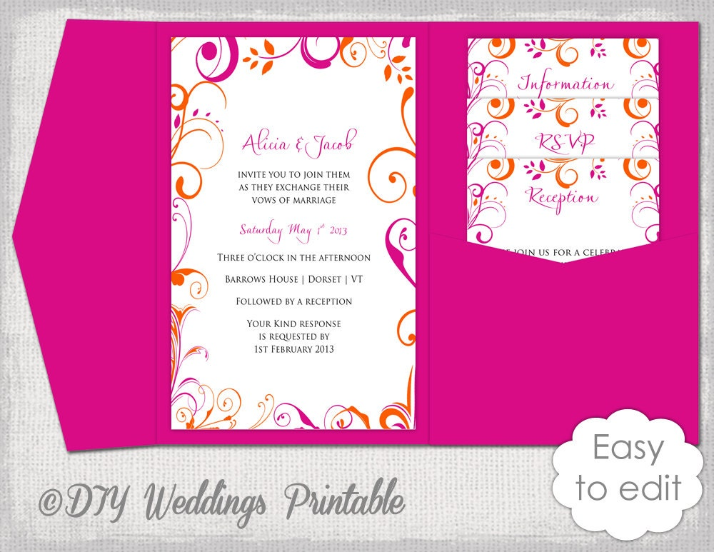 Wedding Invitation Template DIY pocketfold wedding