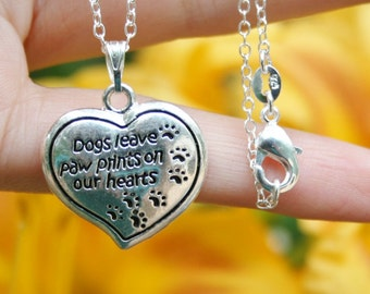 Dog Memorial Jewelry Sterling Silver .925 Necklace Chain Dogs Leave Paw Prints on Our Hearts Charm Pendant Loss Loved Memory Birthday Gift