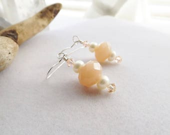 Peach Glass Drop Earrings, Handmade Beaded Pearl Earrings, Peach Swarovski Crystal Earrings, Spring Dangle Earrings, Gift for Her, Wedding