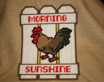 Rooster fence wall hanging