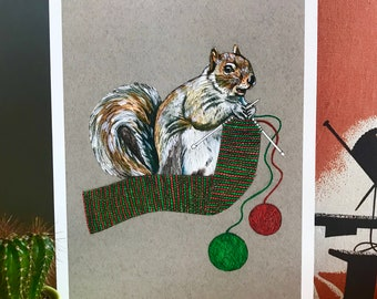 A4 Squirrel Knitting Art Print - Illustration - Craft Room Art - Knitting Lover Gift - Wall Art - Quirky Art - Home Decor