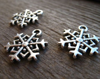 20 Silver Snowflake Charms 18mm Double Sided