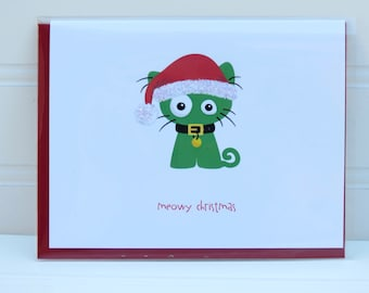 Meowy Christmas, Cat Christmas Card, Christmas Cat Card, Cat Card, for Cat Owner, from the Cat, Cat Lover, Funny Holiday Card, Christmas Cat