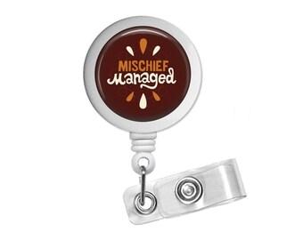 Quote Mischief Managed Photo Glass / Bottle Cap Retractable ID Badge Reel, Nurse Badge Reel
