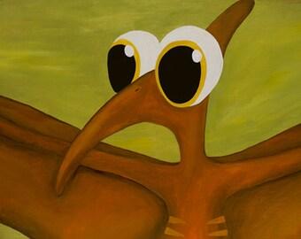 Pablo print, Pablo the Pterodactyl canvas print, Dinosaur gallery wrapped canvas, Kids decor, Boys room, office, whimsical dinosaur