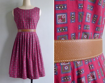 Vintage 60's Deep Red Geometric Print Cotton Day Dress M