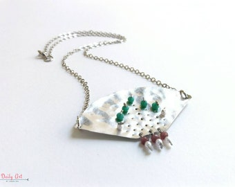 Elegant, bohemian necklace, hammered metal jewelry