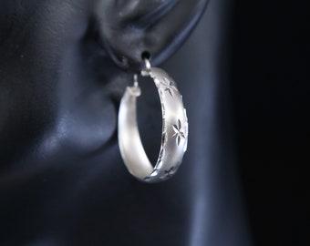 """1"""", Vintage sterling silver loop earrings, fashion minimalist primitive hoops, Stamped 925"""