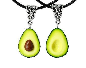 Avocado Necklace BFF Set of 2, Best Friend Forever Necklaces Couple Friendship Gift Cute Green Fruit Halves Pendant with Pit Seed