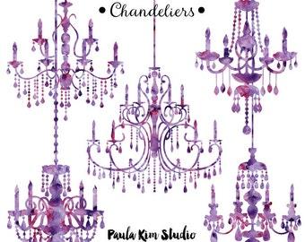 Purple chandelier etsy purple chandelier watercolor clipart silhouettes chandelier clip art wedding invitation clipart commercial use aloadofball Images
