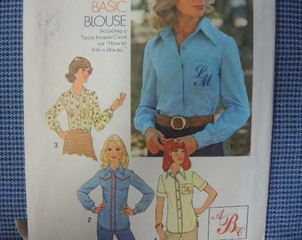vintage 1970s simplicity sewing pattern 7078 misses blouse size 10