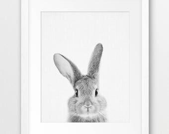 Rabbit Print, Nursery Animal Wall Art, Woodland Animals Print, Black White Animal Print, Bunny Print, Kids Room Decor, Digital Printable Art