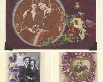 Purple Pansies Pack: Vintage LGBTQ+ Cards - 3 pack purple floral vintage cards - antique gay engagement, spring cards, gay greeting cards