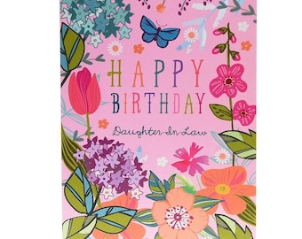 Happy Birthday Daughter-In-Law - Birthday Card for Daughter-In-Law - Daughter-In-Law Birthday Card - Card for a Daughter-In-Law