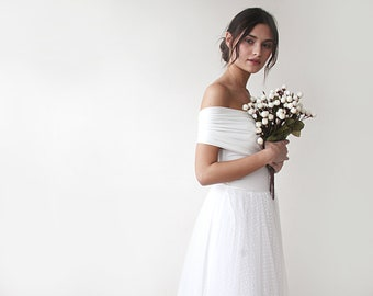 Dots tulle Maxi Dress, Off the shoulder Wedding Dress, Tulle Maxi Dress, Vintage style dress, Romantic Ivory Wedding Gown, 1191