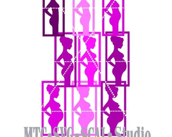 SVG Cut File Pregnant Silhouette Boxed Overlay Woman Pregnancy 9 Months MTC SCALCricut Silhouette Cutting File