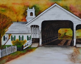 """Covered in Fall, original watercolor painting by Meike Geisler, 11.5"""" x 15.5"""", covered bridge surrounded by fall using yellows, reds, greens"""