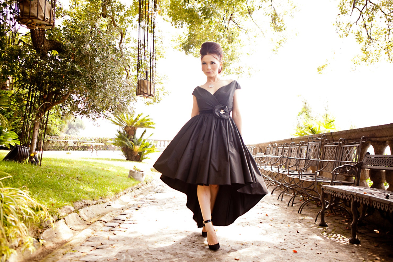 1950s off shoulder dress black prom dress high low dress zoom ombrellifo Choice Image