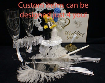 Marge & o Homer SIMPSONS Wedding Theme, Pick! Cake Topper or Glasses or Cake Knife Set or Guest Book simpson funny Kiss