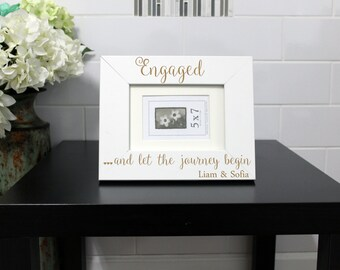 Personalized Picture Frame, Custom Picture Frame, Personalized Photo Frame, Custom Photo Frame, Wedding Gifts, Engagement --PF-WHT-Engaged