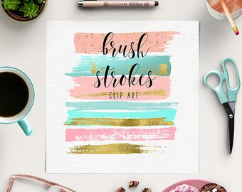 MAKE UP LOGOS | Brush Strokes Clipart | Peach, Pink, Gold Graphic Elements | Paint Clip Art | Ink Strokes | Logos And Branding | BUY5FOR8