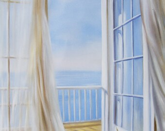 A Sea View Memory Oil Painting on a High Quality Linen Canvas 80cm x 80cm