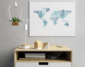 Watercolor World Map Wall Art, Blue World Map Print, World Map Poster, Map Of The World, World Map Art, World Map Decor
