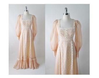 Vintage 70's Floor Sweeping Gunne Sax Sheer Peach & Lace Gown Prarie Dress XS