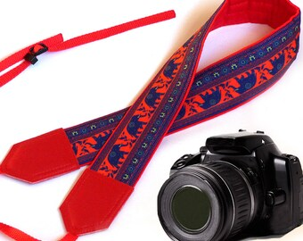 Red Camera Strap. Lucky elephant Camera Strap. Camera accessories. Photo accessories. Bright and great gift by InTePro