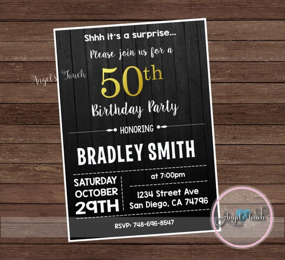 Mens Birthday Party Invitation Men 50th