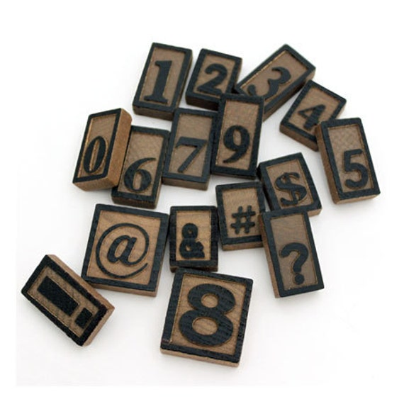 Laser Cut Supplies-Wooden Letter Press -16 Number and Symbol Set-Brooch Supplies- Little Laser Lab Sustainable Wood Products